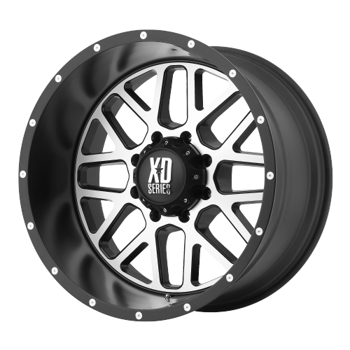 XD SERIES BY KMC WHEELS GRENADE SATIN BLACK W/ MACHINED FACE